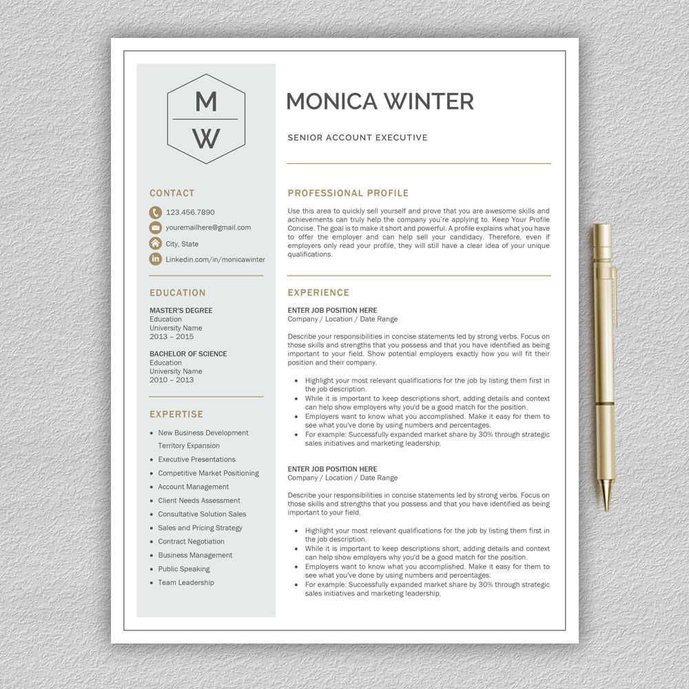 professional and modern resume template for word