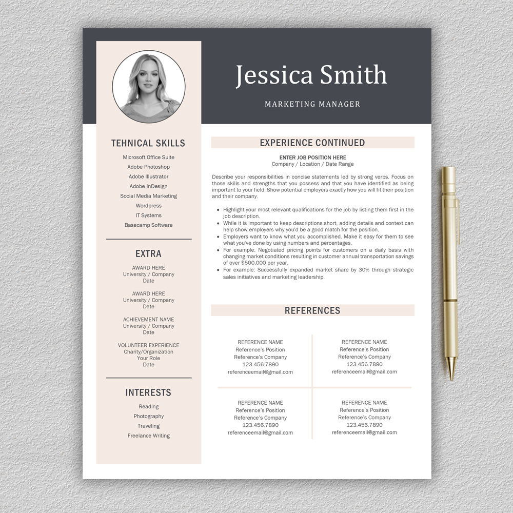 Resume Template Cv Template Professional Resume Modern
