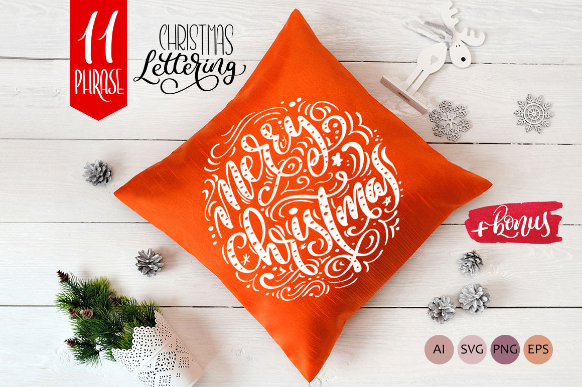 Christmas Lettering Phrases By Happy Letters Thehungryjpeg Com