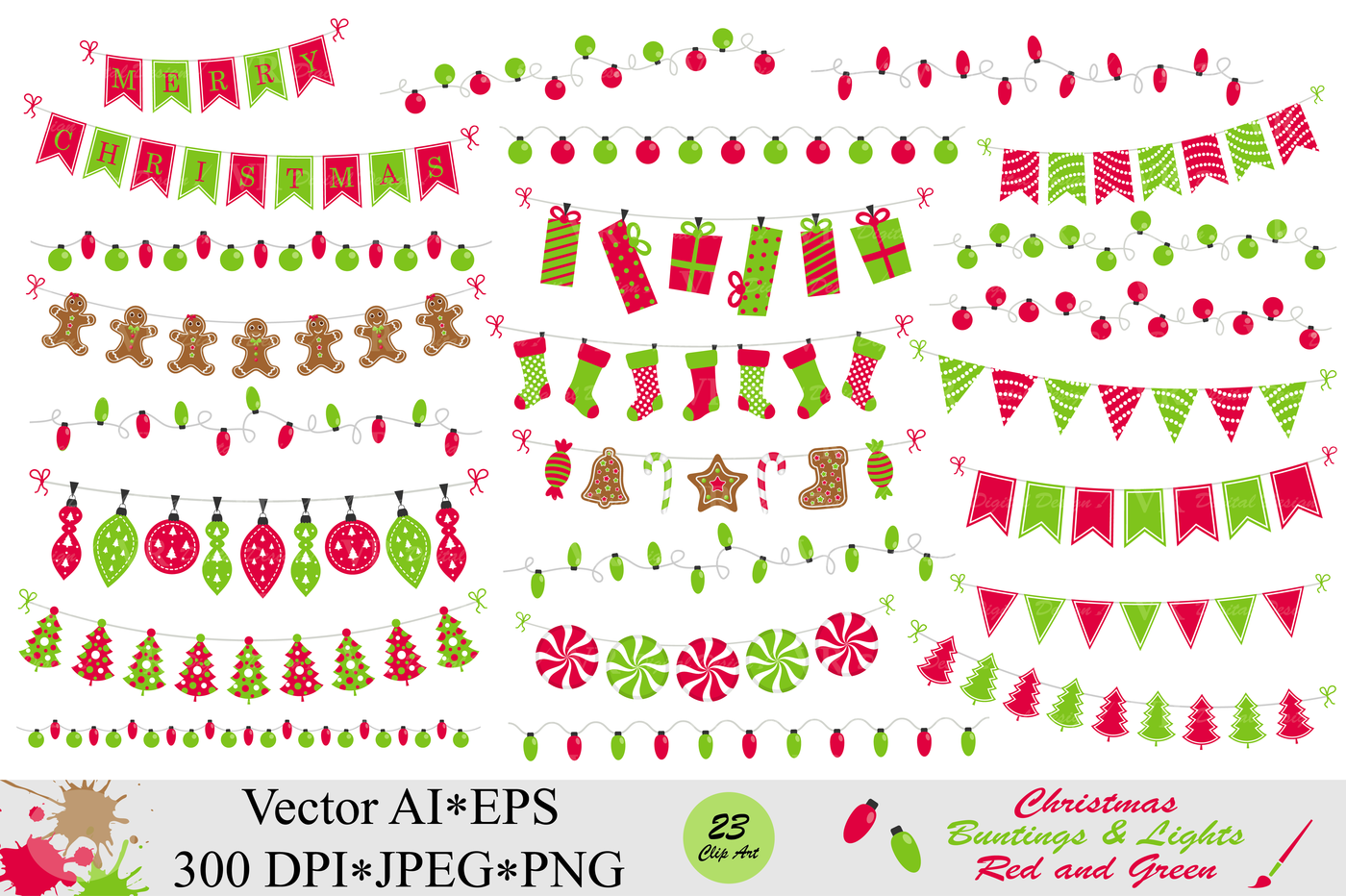 Christmas Red And Green Bunting Banners And String Lights Clipart