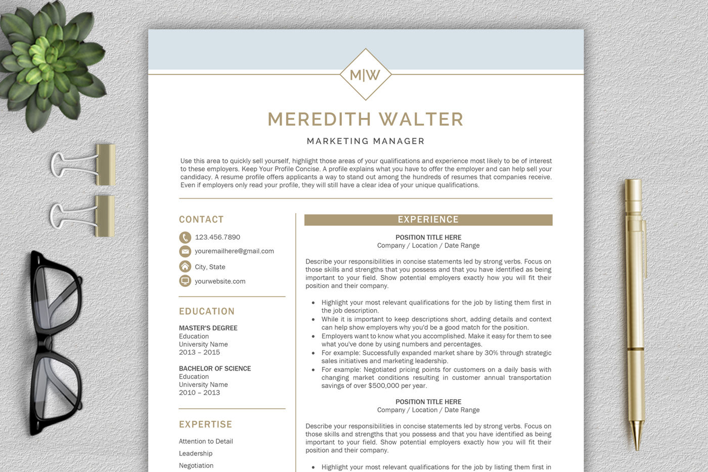 Resume Template Modern Resume Cv Template Professional