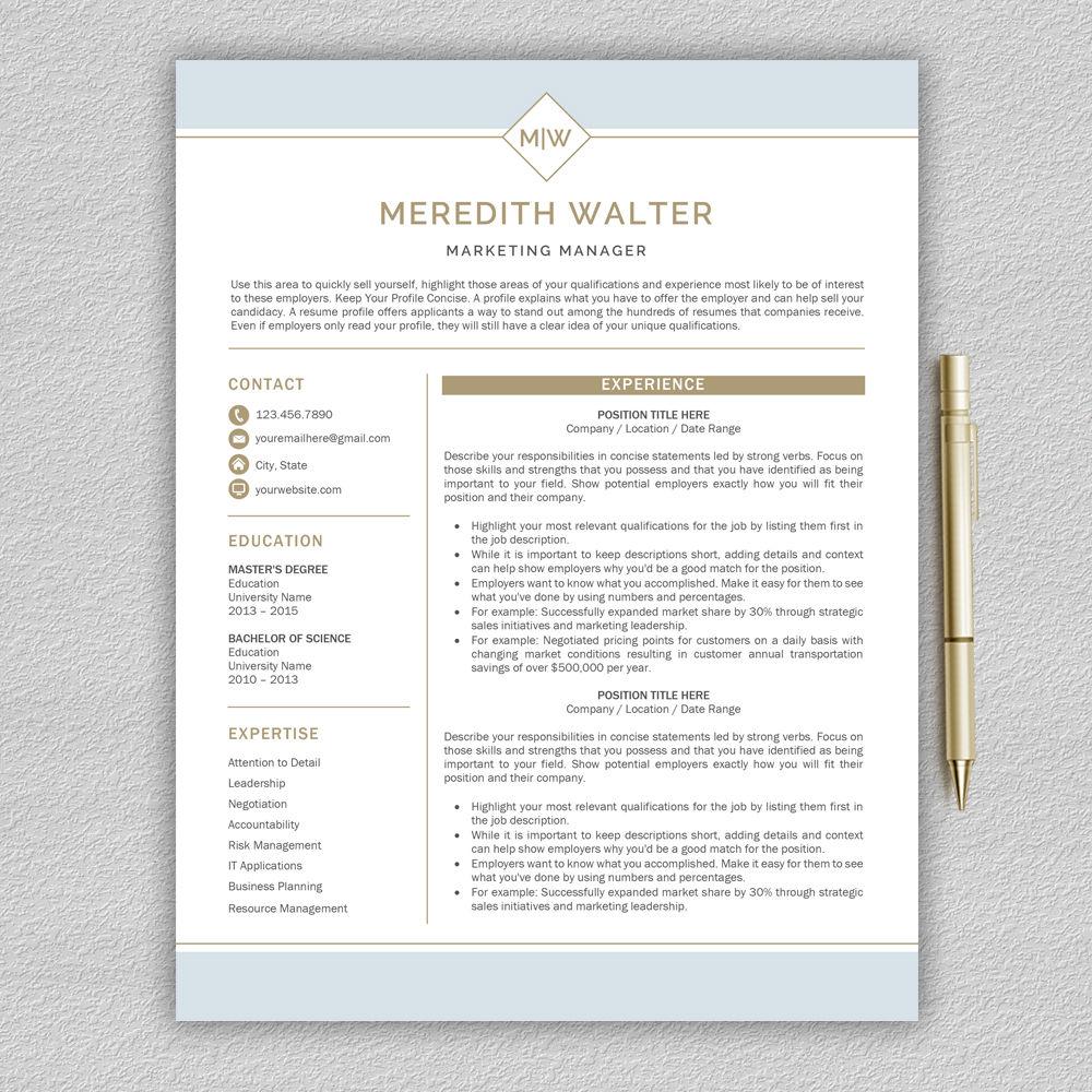 Resume Template Modern Resume Cv Template Professional Cv