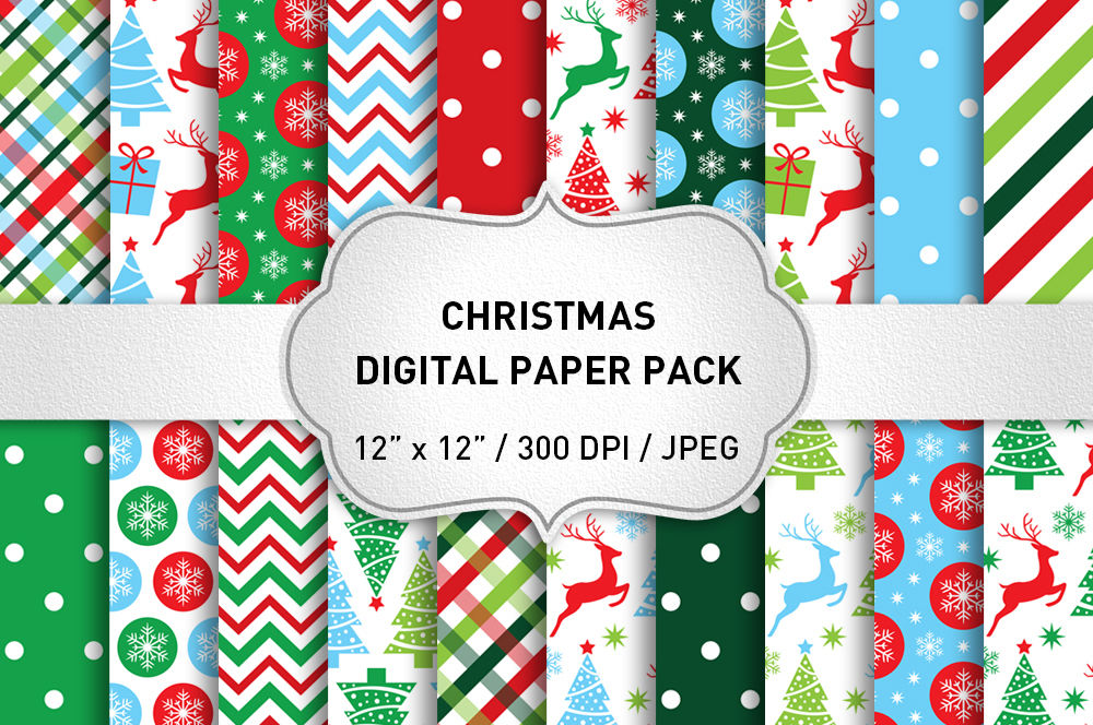 Christmas Digital Paper Pack Christmas Backgrounds Holiday