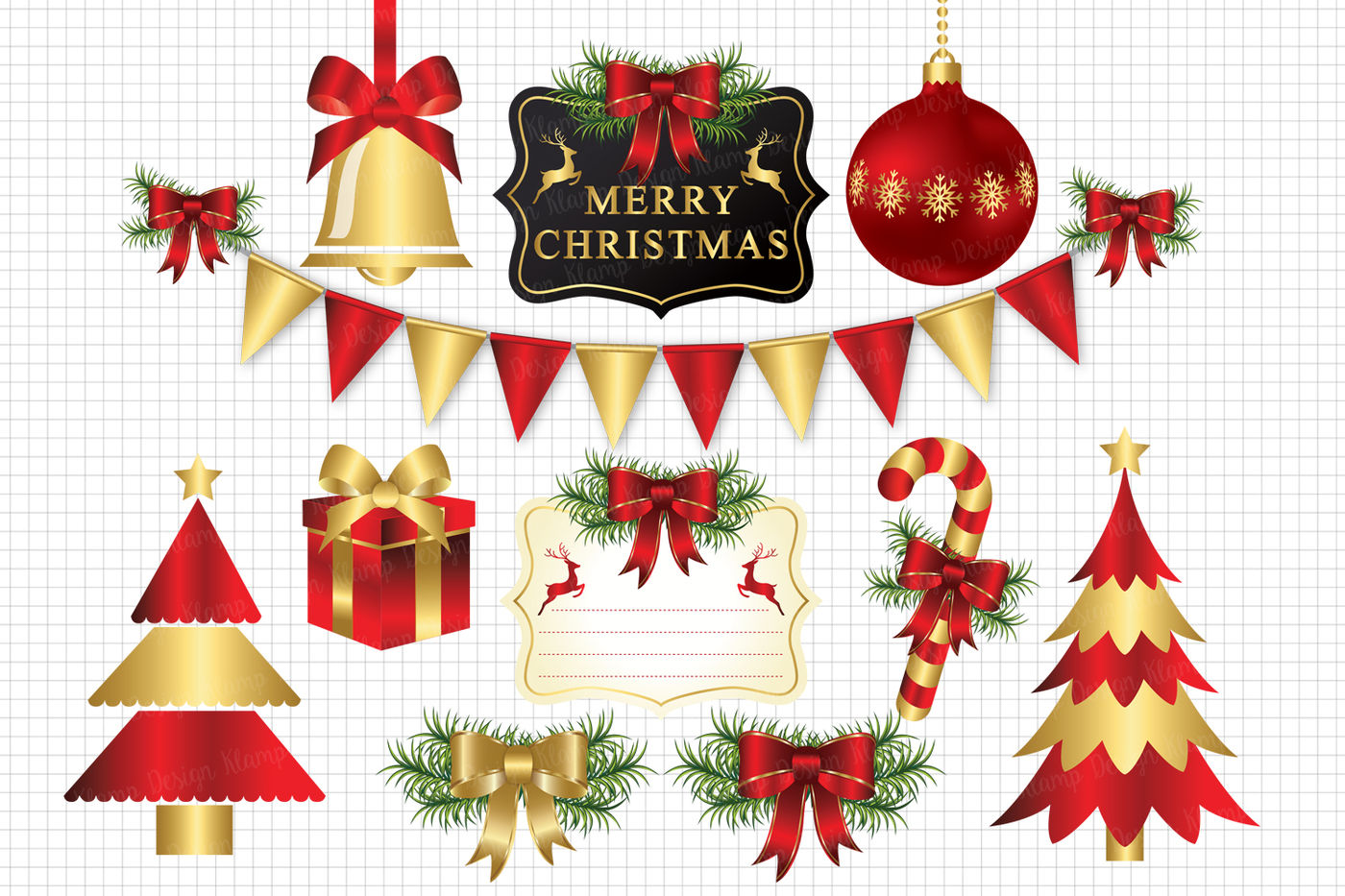Red And Gold Merry Christmas Clipart Christmas Graphic