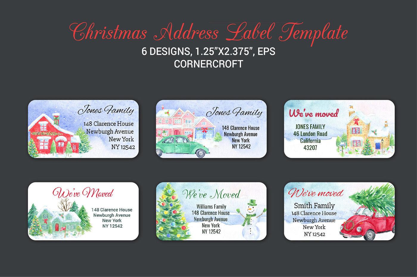 Christmas Address Label Template By Cornercroft Thehungryjpeg Com