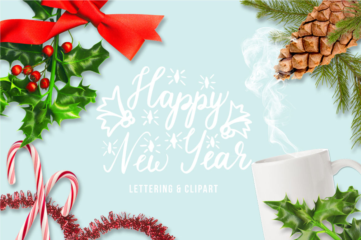 Happy New Year Lettering And Clipart By Ink Brush Art