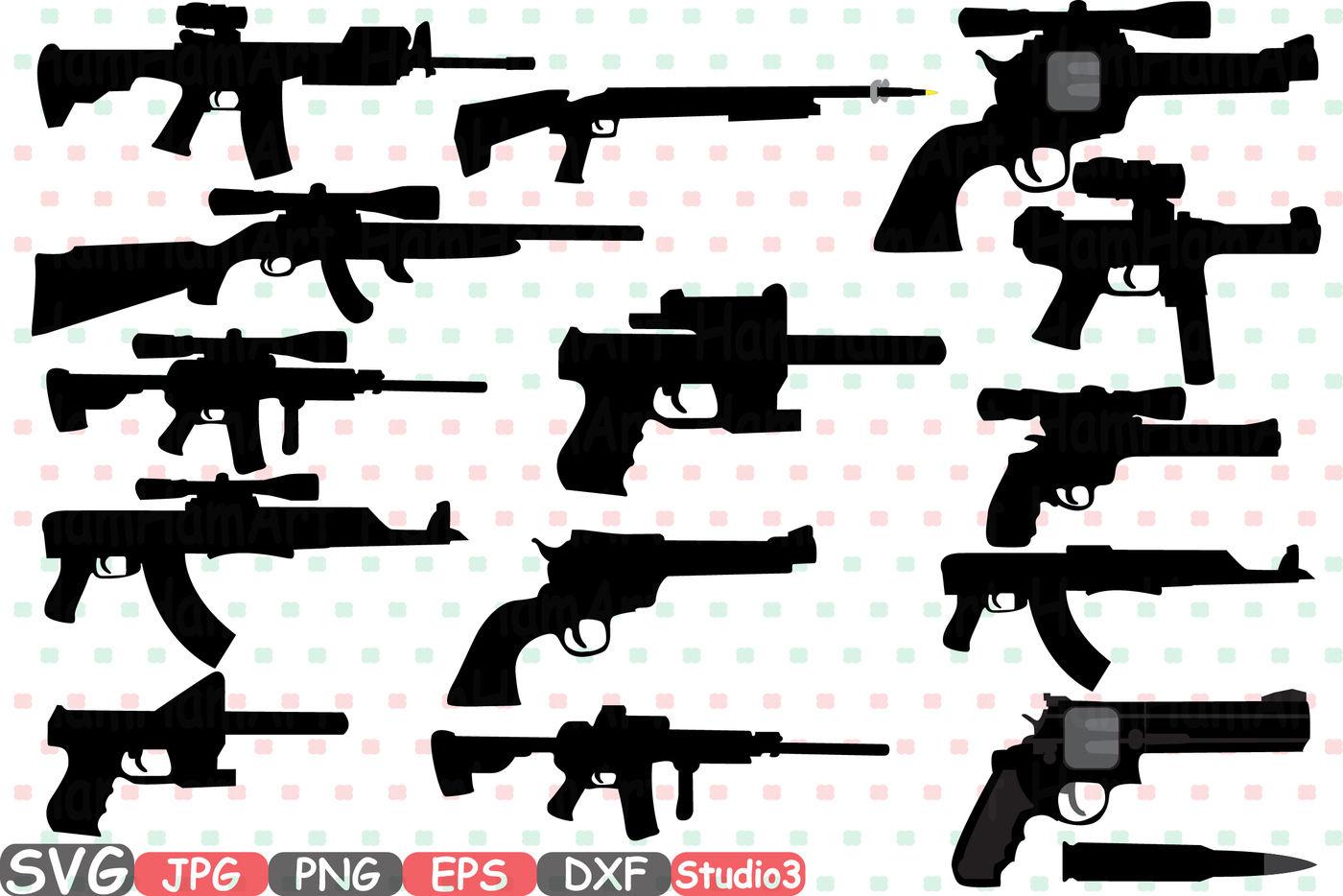 Hunting Guns Cutting Files Svg Silhouette Clip Art Black Skeleton
