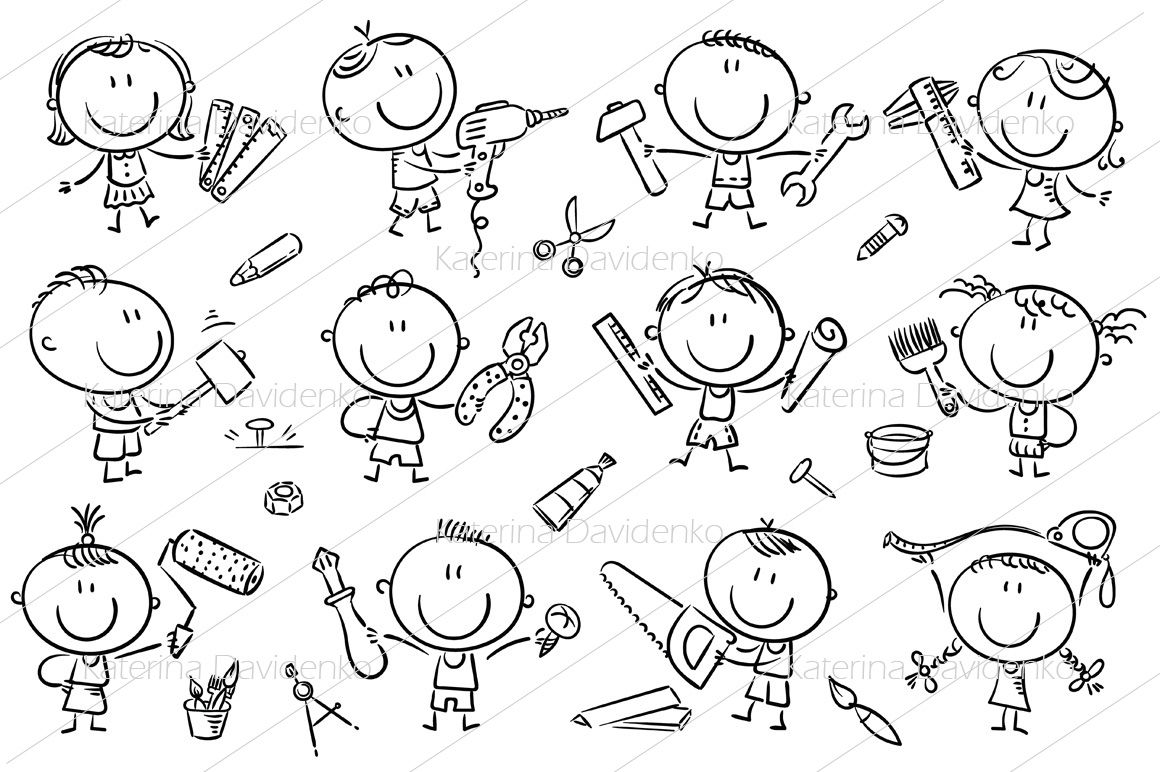 Kids With Tools By Optimistic Kids Art Thehungryjpeg Com