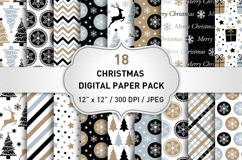 Christmas Digital Paper Pack Christmas Backgrounds Black