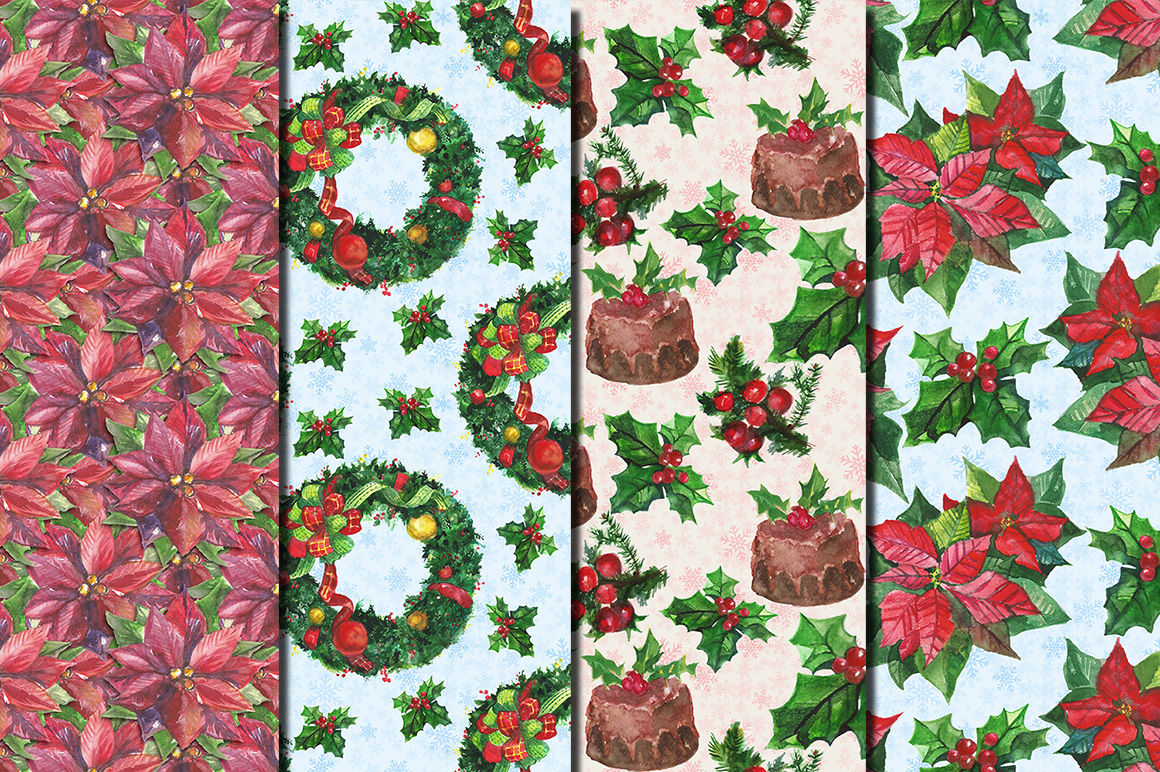 Christmas Flowers Watercolor Seamless Patterns By Dolly Potterson