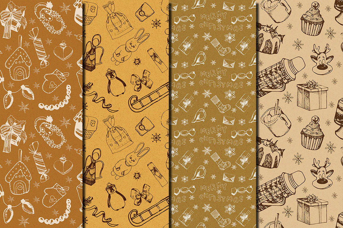 Vintage Christmas Toys Seamless Patterns By Dolly Potterson