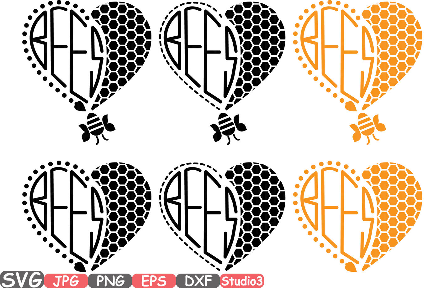 Bumble Bee Bees Honey Heart Silhouette Svg Cutting Files Digital