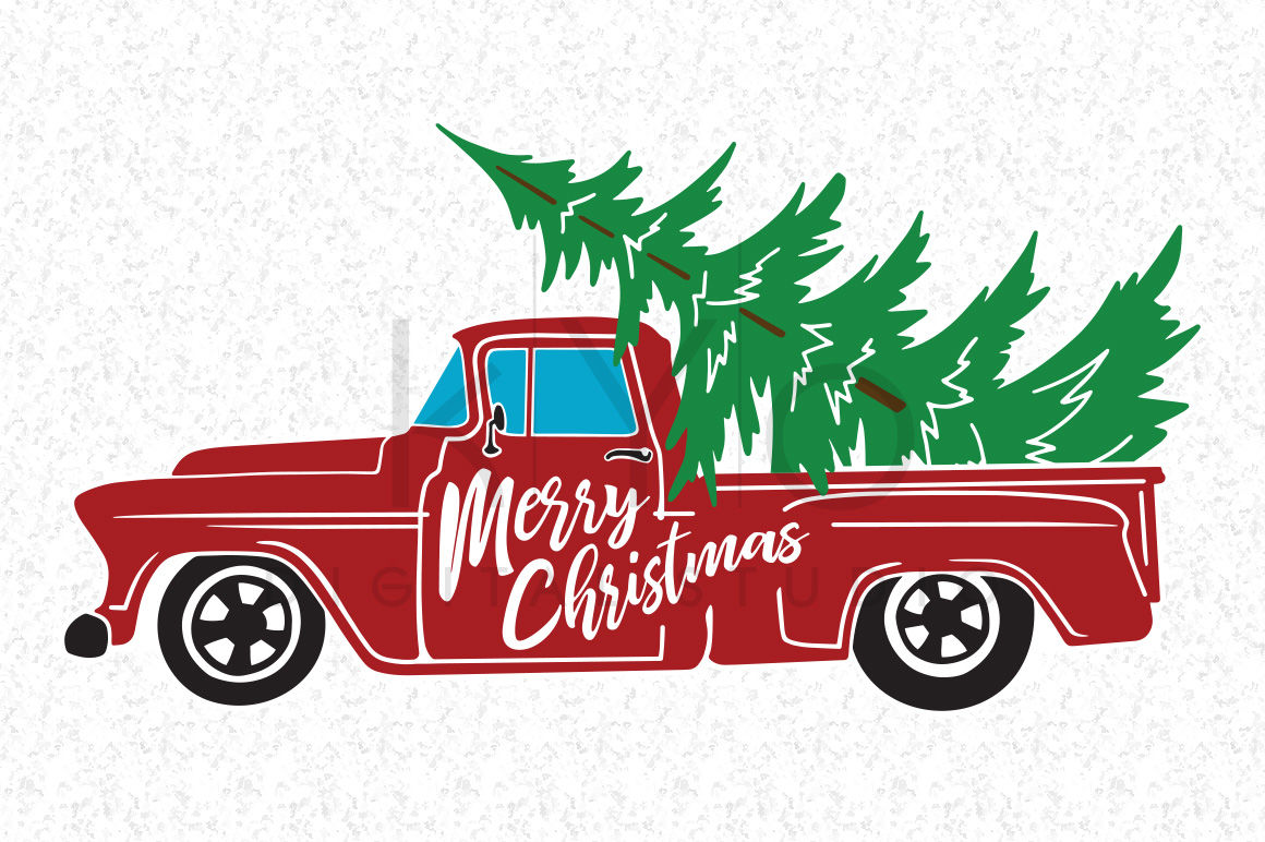 Christmas Red Truck SVG, Christmas Tree Truck SVG files By ...