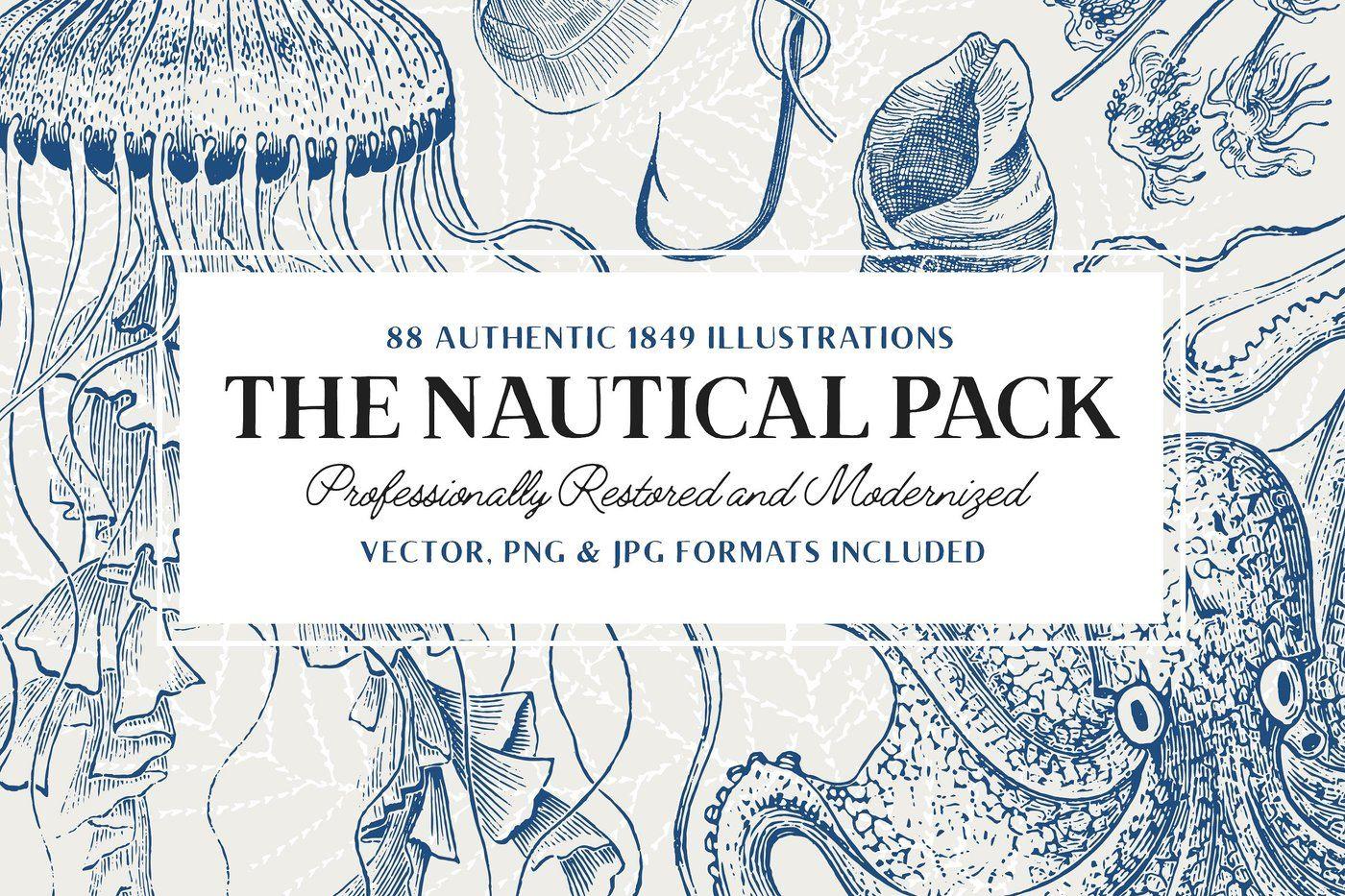 88 Vintage Nautical Illustrations By Tom Chalky Thehungryjpeg Com