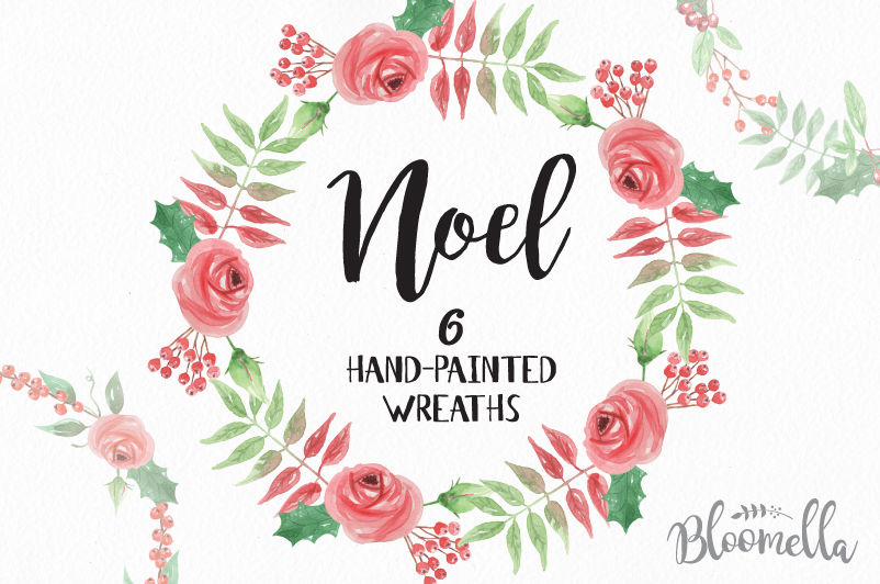 6 Watercolour Noel Wreaths Clipart Christmas Festive Winter Hand