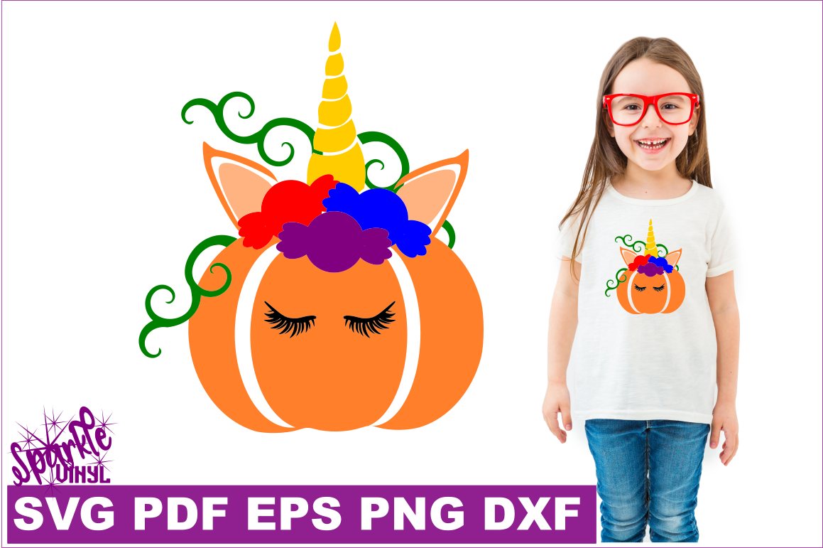 Unicorn Pumpking With Candy Svg Dxf Eps Png Pdf Files For Cricut