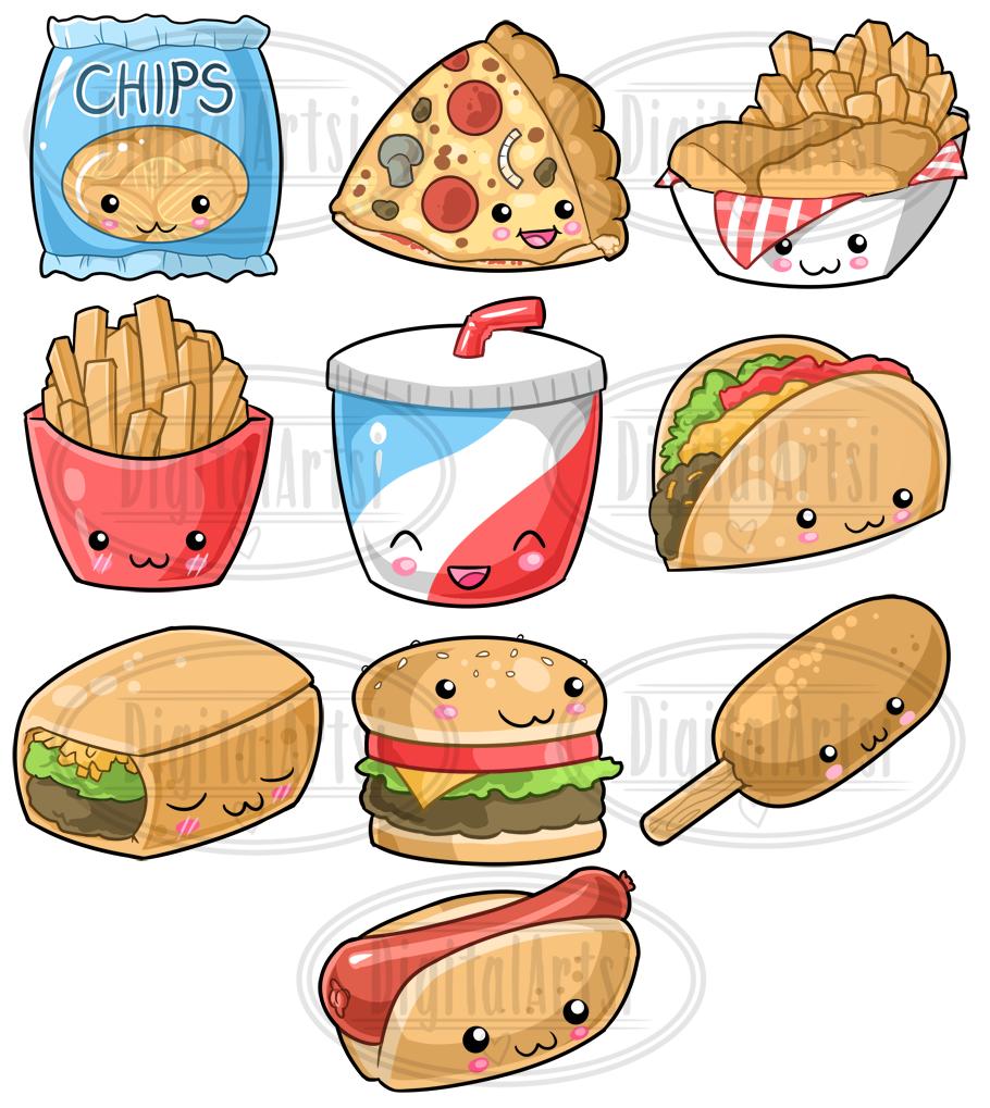 Kawaii Junk Food Clipart By Digitalartsi   TheHungryJPEG.com (910 x 1019 Pixel)