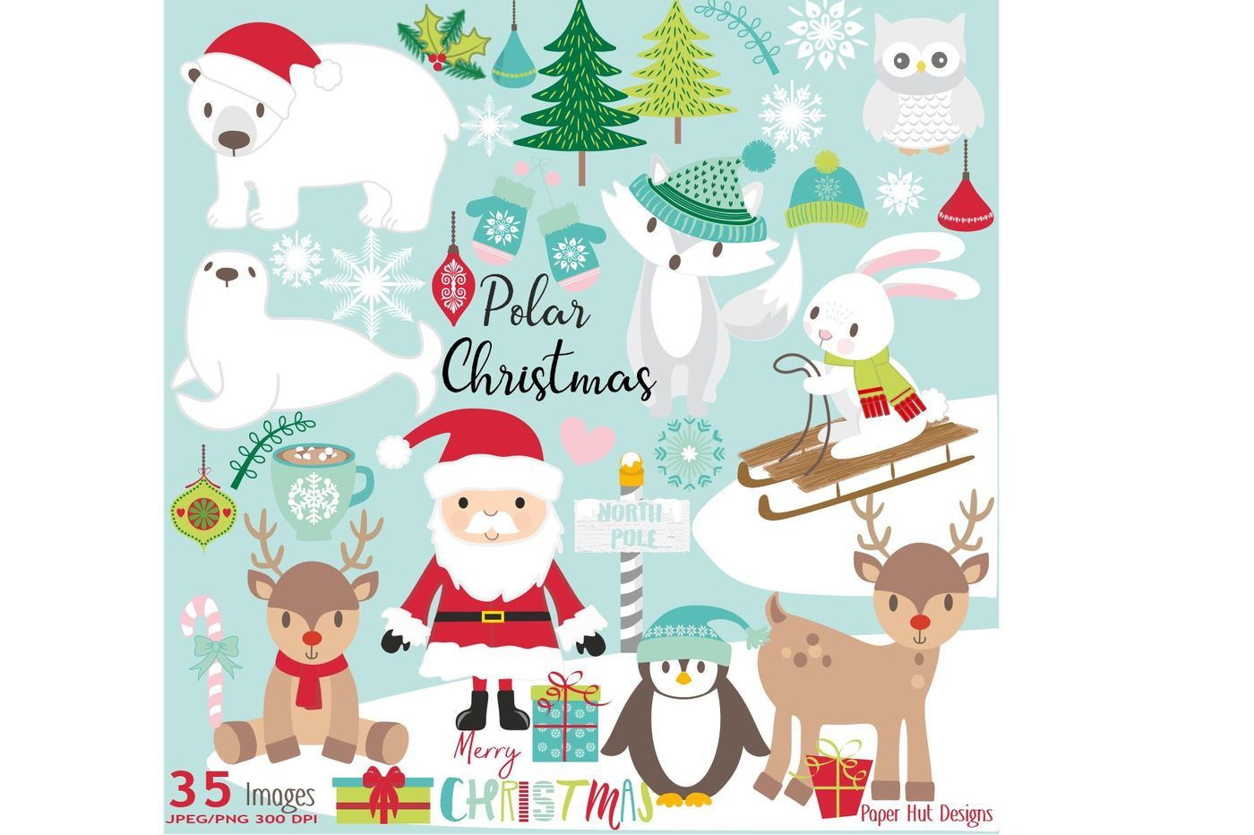 Christmas Polar Animals Clipart Set By Paperhutdesigns
