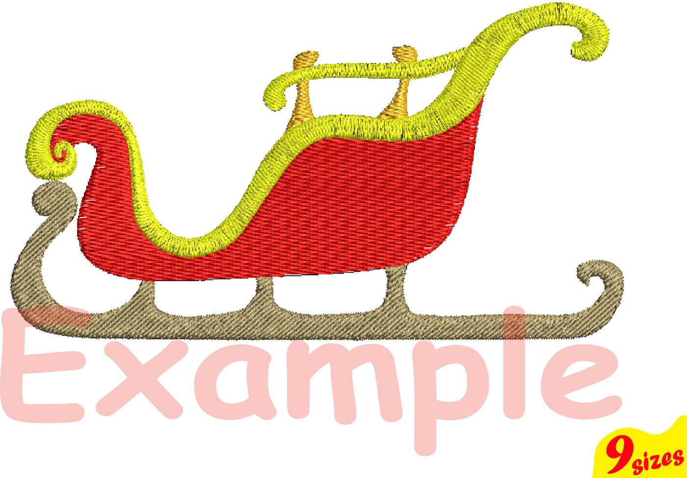 Santa Sleigh Embroidery Design Machine Instant Download