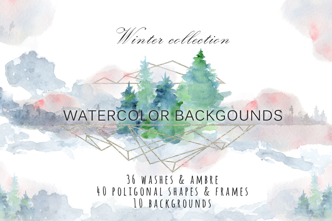 Winter Watercolor Backgrounds Christmas Textures By Evgeniiasart