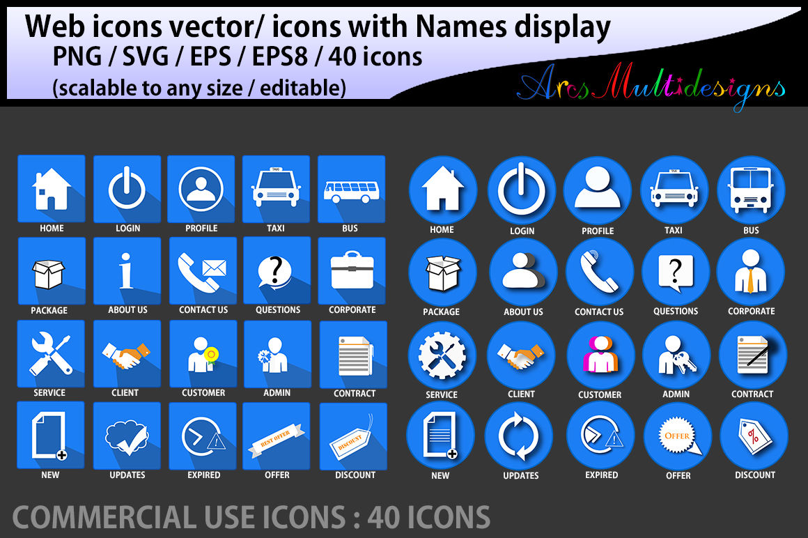 Web Icons Vector Commercial Use Svg Png Icons With Name