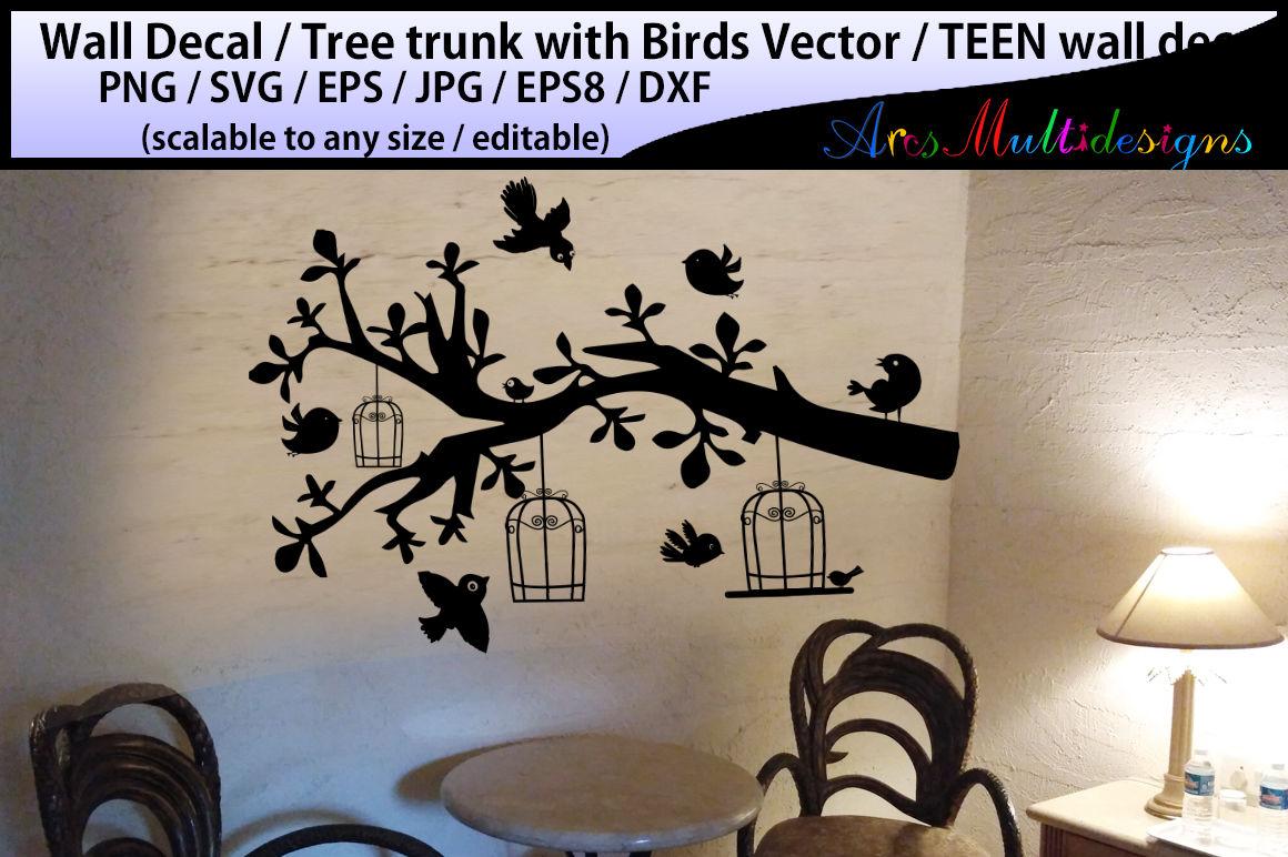 teen girl bedroom wall decal / wall decal silhouette /birds ...