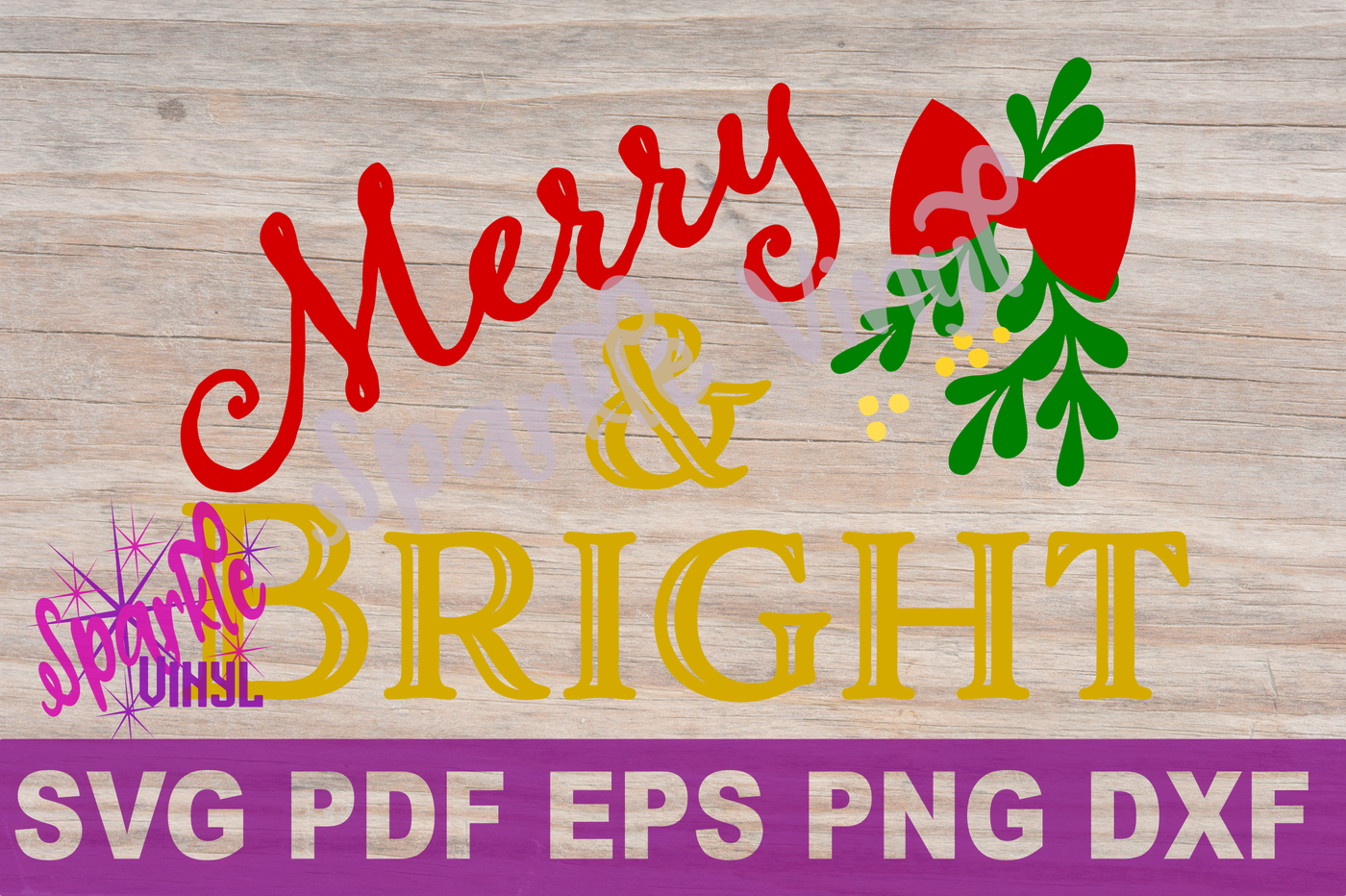 SVG Christmas Merry and Bright Farmhouse Sign Stencil