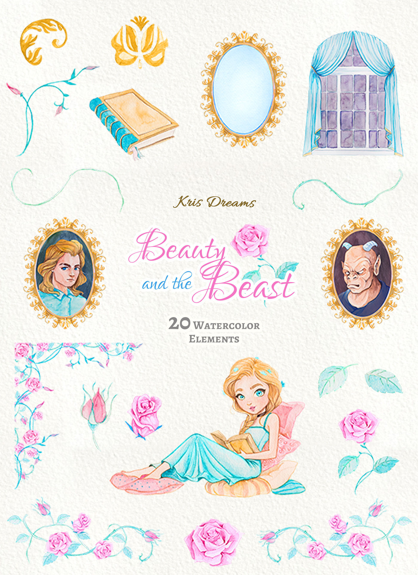 Beauty And The Beast Clipart By Krisdreams Thehungryjpeg Com