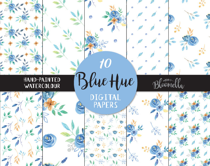 Pretty Blue Hue Watercolor Hand Painted Seamless Digital Papers Navy Gold Leaves Flowers Png Files By Bloomella Thehungryjpeg Com