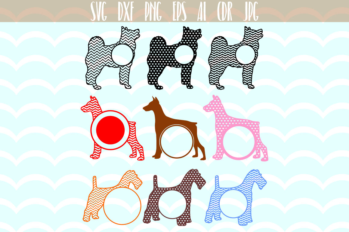 Dogs Monogram Svg Dog Cut File Pet Round Monogram By Dreamer S