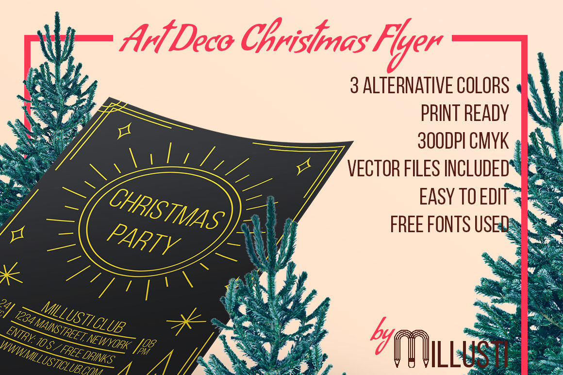 Art Deco Christmas Party Flyer Template By Millusti