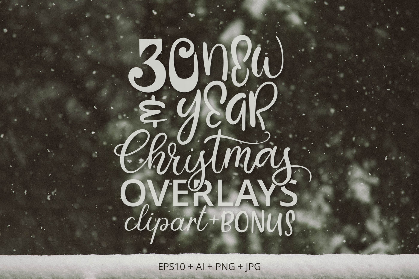 30 Christmas New Year Overlays By Anmark Thehungryjpeg Com