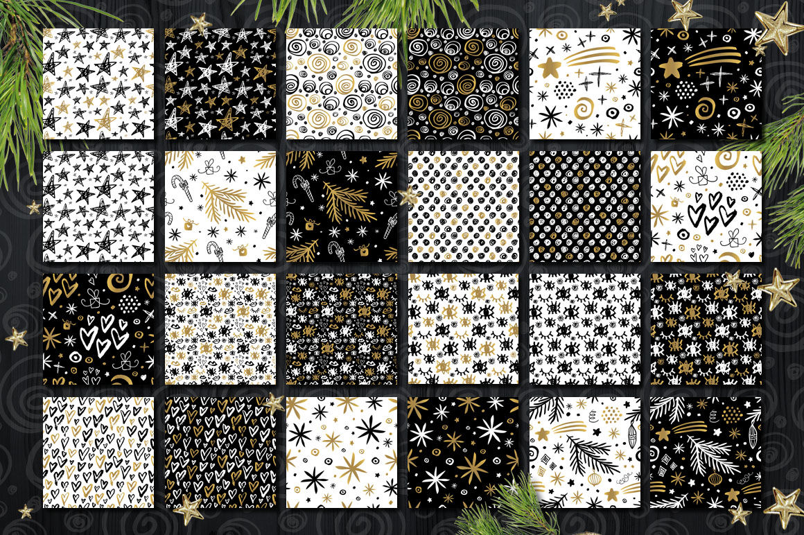 Gold Black White Christmas Collection By Iraida Bearlala