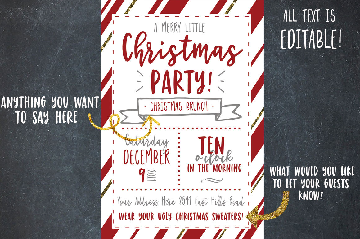 Christmas Party Invitation Template By Dansie Design
