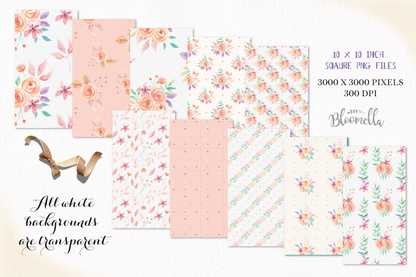 Peach Watercolor Seamless Patterns Digital Papers Hand Painted Flowers By Bloomella Thehungryjpeg Com
