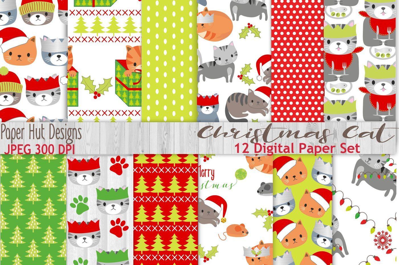 Christmas Cat Digital Papers By Paperhutdesigns Thehungryjpeg Com