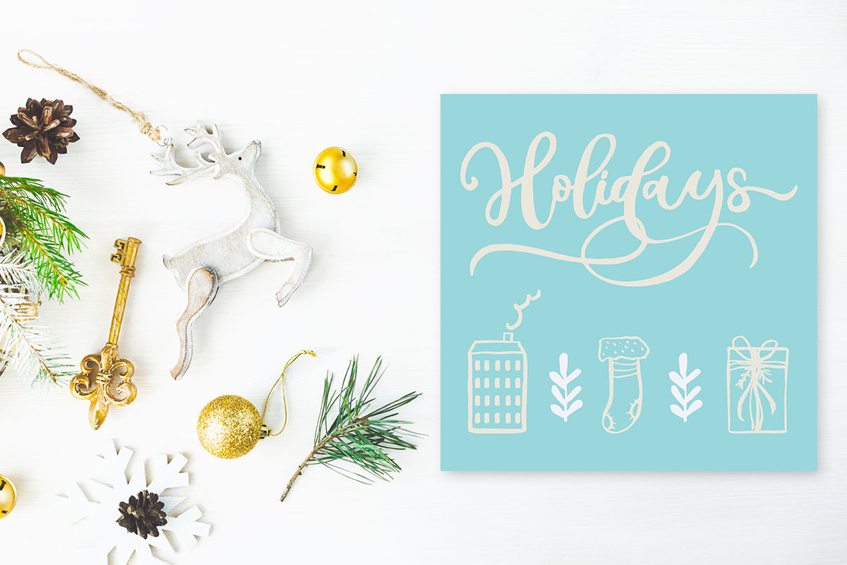 Cute Vintage Christmas Psd Mockup By Sentimental Postman