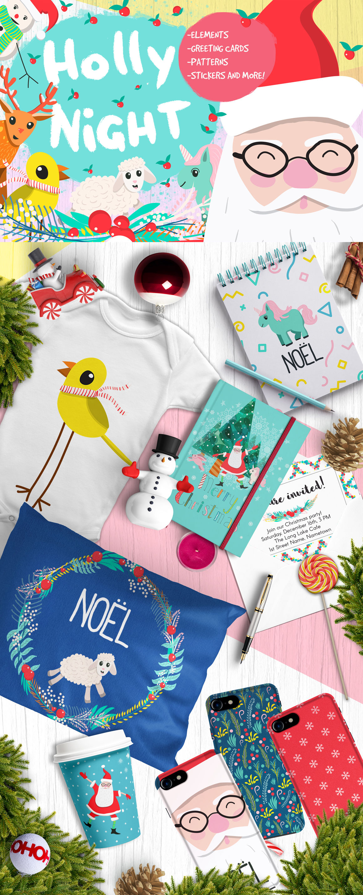 Holly Night Christmas Set Of Goodies By Choo Studio