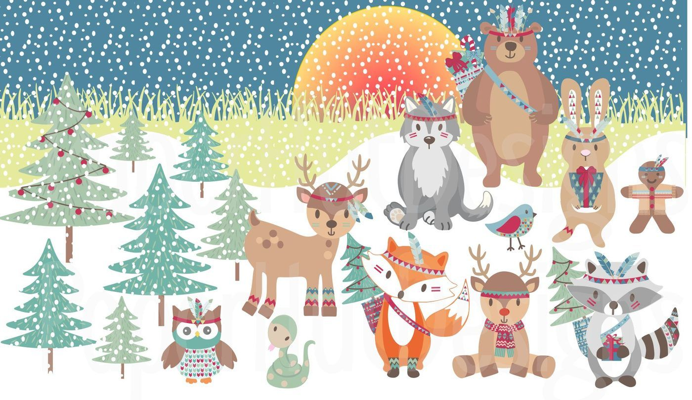 Christmas Tribal Animals Clipart By Paperhutdesigns