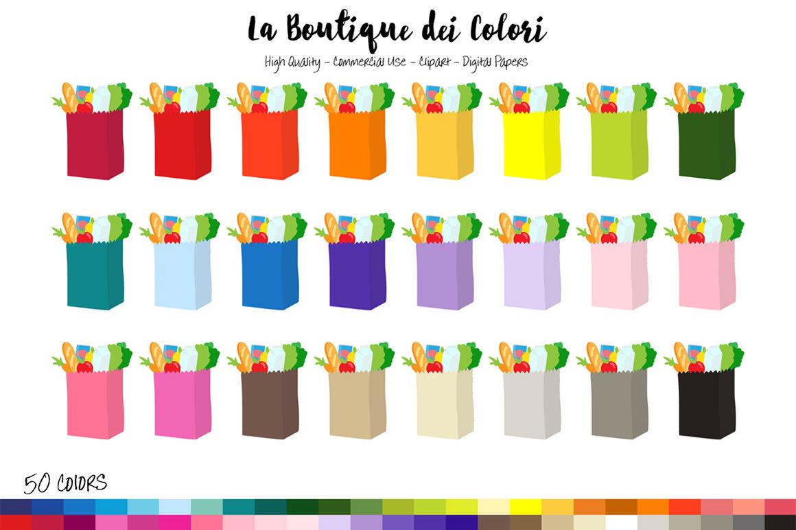 50 Rainbow Grocery Bag Clip Art By La Boutique Dei Colori ...