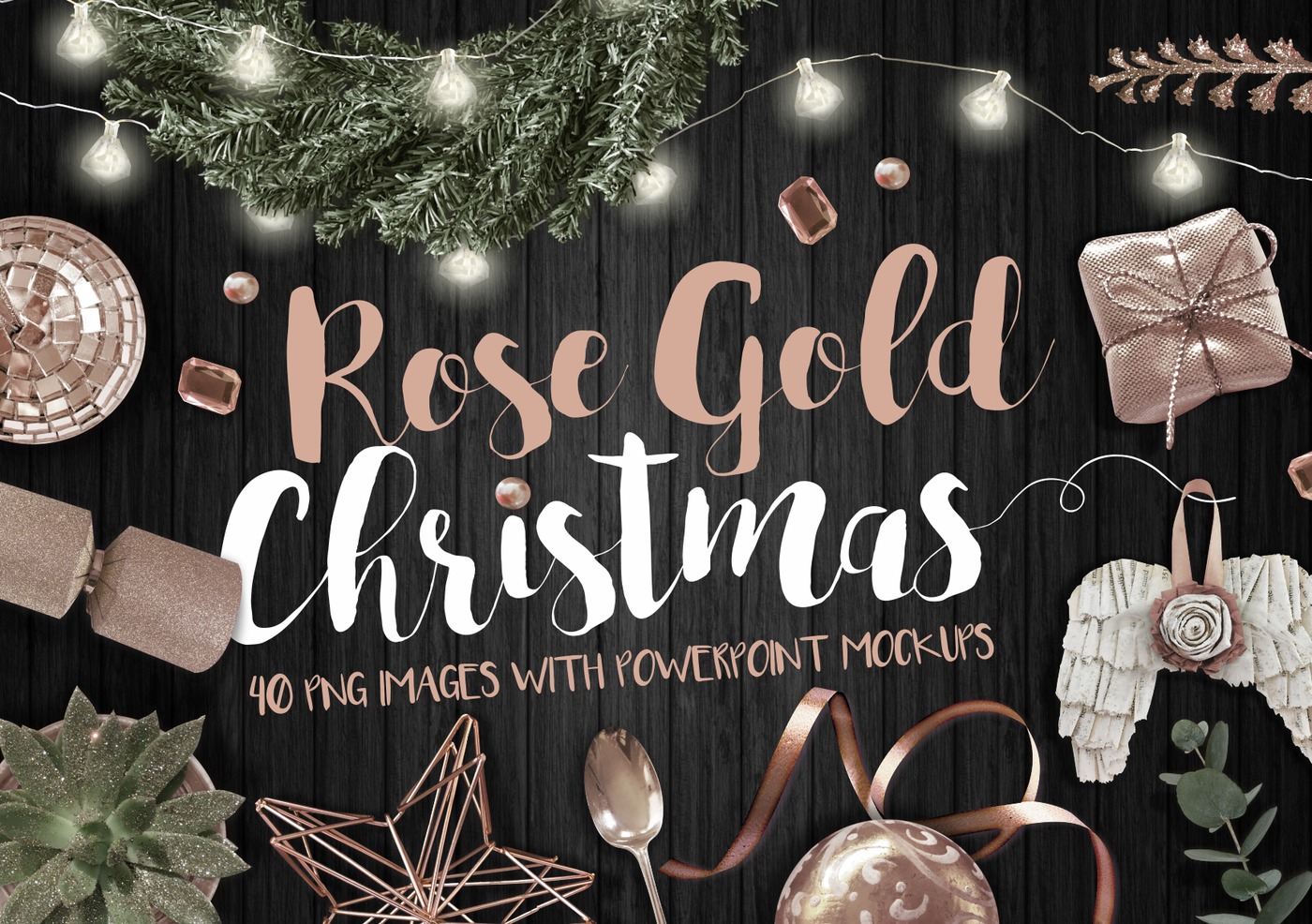 Rose Gold Christmas Png Bundle By My Cosmic Shop Thehungryjpeg Com