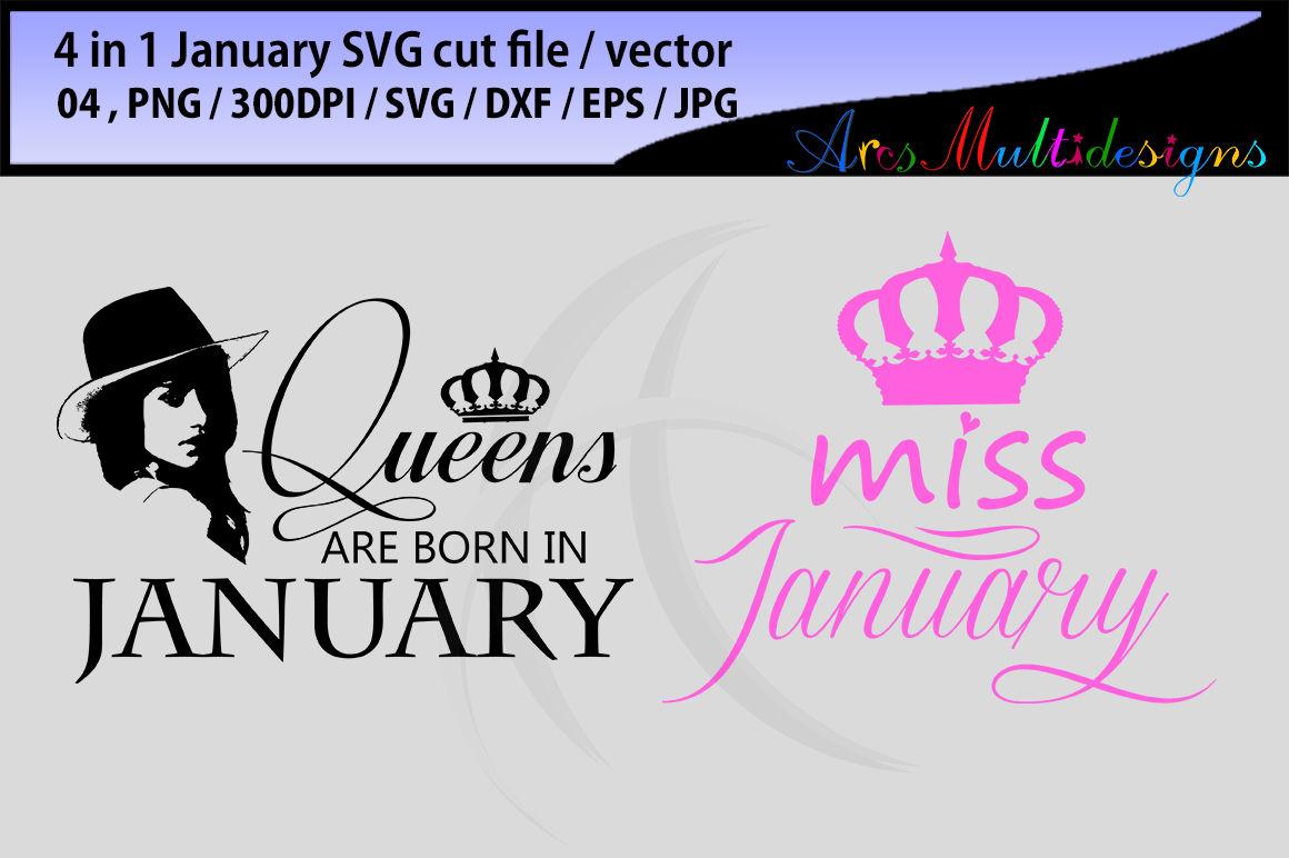 January Girl Svg Vector Cut File Bundle 4 In 1 Printable January