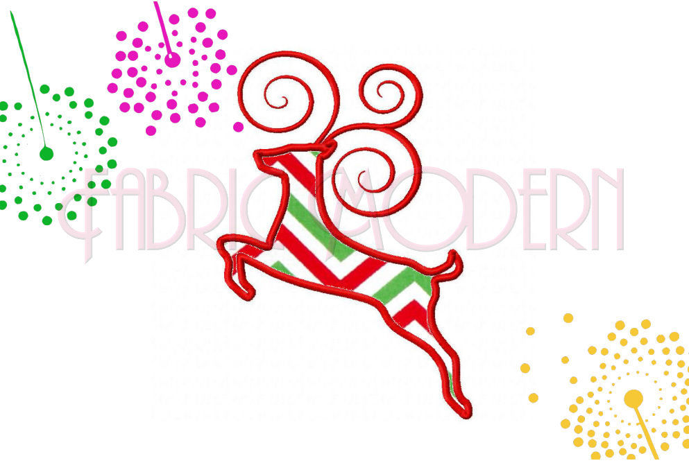 Machine Applique Embroidery Design Stylized Fancy Reindeer For