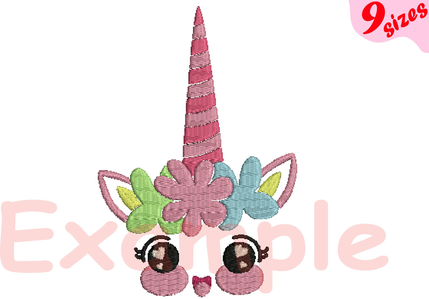 Flower Unicorn Embroidery Design Machine Instant Download