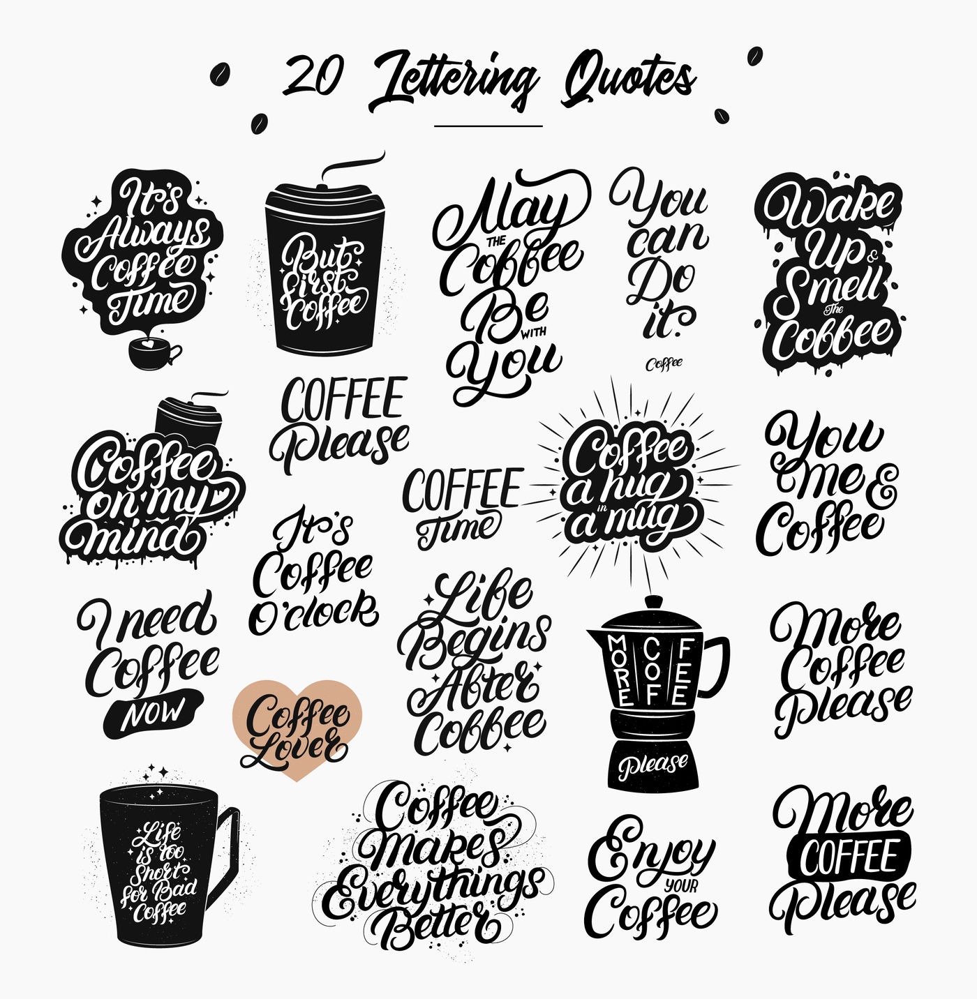 20 Coffee Quotes By Letters Shmetters Thehungryjpeg Com