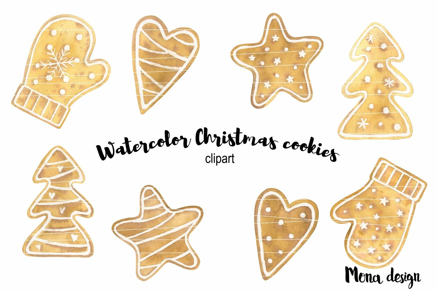 Watercolor Christmas Cookies Clipart By Mona Design Thehungryjpeg Com