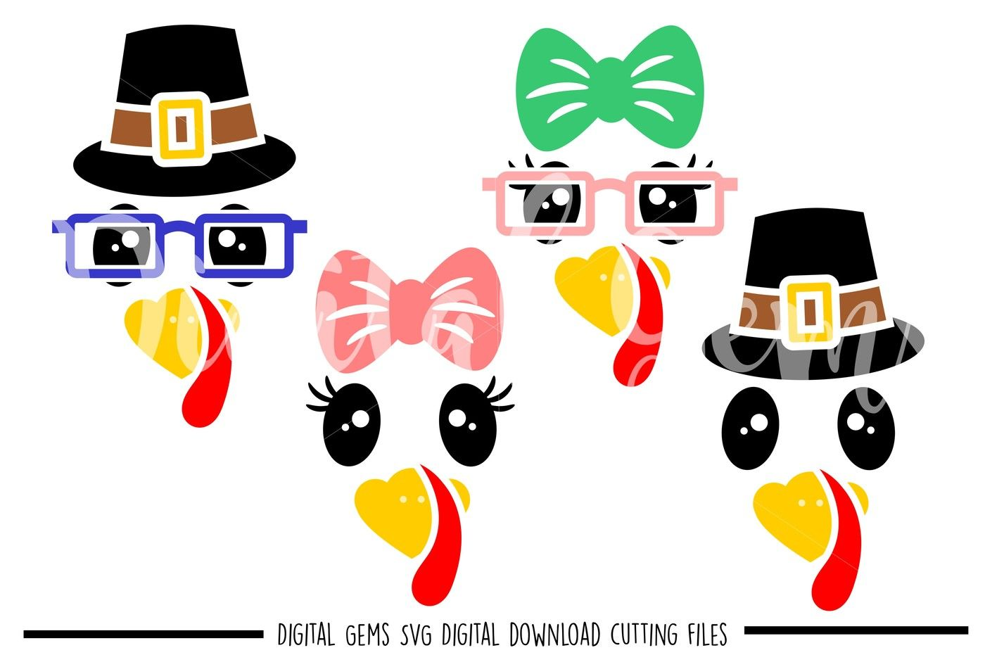 Turkey Faces Svg Dxf Eps Png Files By Digital Gems Thehungryjpeg Com
