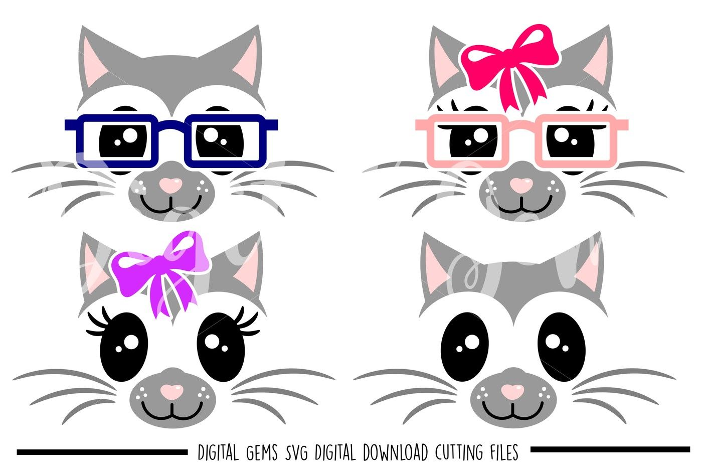 Cat Svg Dxf Eps Png Files By Digital Gems Thehungryjpeg Com