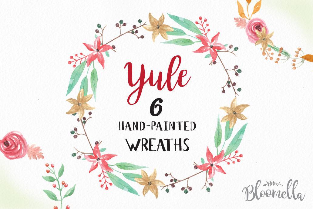 Watercolor Hand Painted 6 X Wreath Yule Holidays Christmas Garland