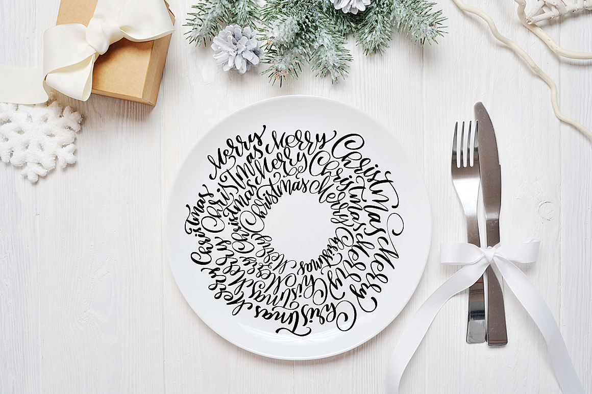 Hand Drawing Christmas Lettering And Doodle Elements By Happy